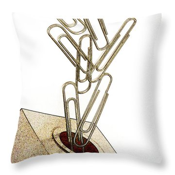 Flying Paperclips Throw Pillow