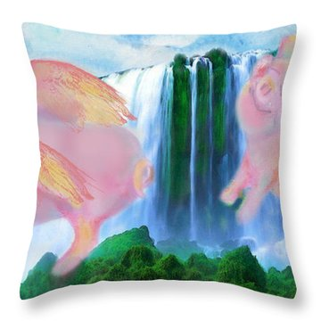 Flying Pigs Throw Pillow