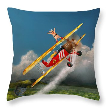 Flying Pigs - Plane - Hog Wild Throw Pillow by Mike Savad