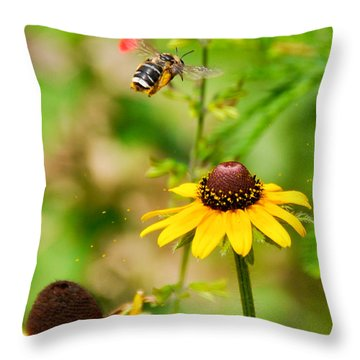 Flying Pollen Throw Pillow