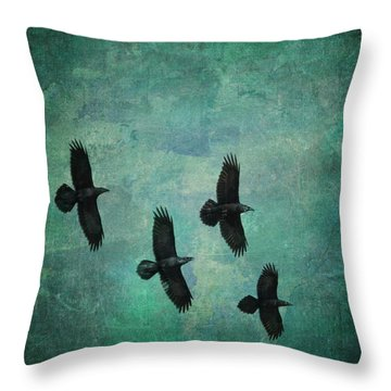 Throw Pillow featuring the photograph Flying Ravens by Peggy Collins