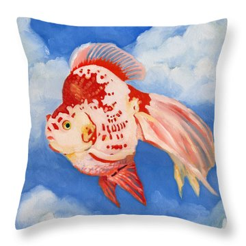 Flying Ryukin Throw Pillow by Katherine Miller