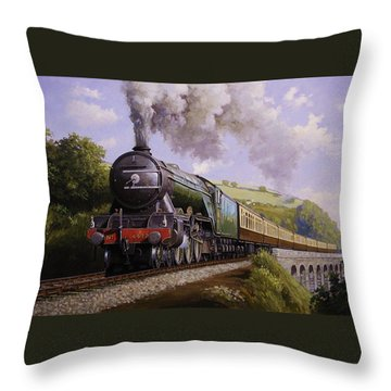 Flying Scotsman On Broadsands Viaduct. Throw Pillow by Mike  Jeffries