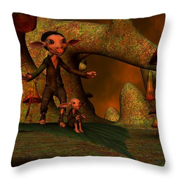 Throw Pillow featuring the digital art Flying Through A Wonderland by Gabiw Art