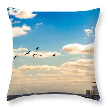 Flying To Discovery Throw Pillow
