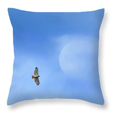 Flying To The Moon Throw Pillow by Bill Wakeley