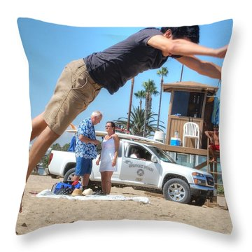 Flying Tourist Throw Pillow