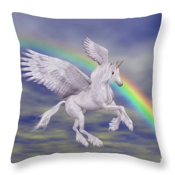 Flying Unicorn And Rainbow Throw Pillow