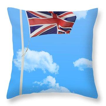 Flying Union Jack Throw Pillow by Amanda Elwell