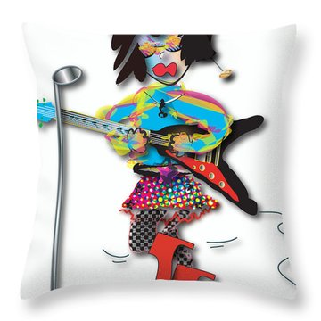 Flying V Girl Throw Pillow by Marvin Blaine