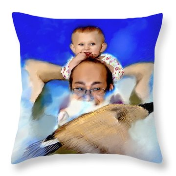 Throw Pillow featuring the painting Flying With Canada Geese by Ted Azriel