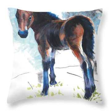 Foal Painting Throw Pillow