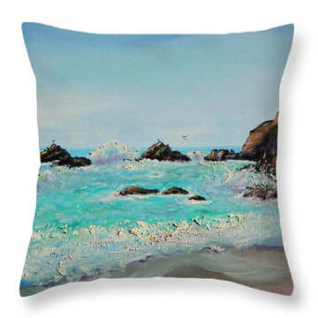 Foamy Ocean Waves And Sandy Shore Throw Pillow by Asha Carolyn Young