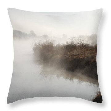Fog Along The Pecos River Throw Pillow