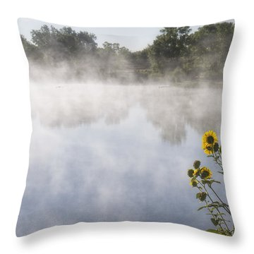 Throw Pillow featuring the photograph Fog And Sunflowers by Rob Graham
