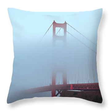 Fog And The Golden Gate Throw Pillow by Jonathan Nguyen