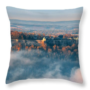 Fog Around The Fortress Koenigstein Throw Pillow