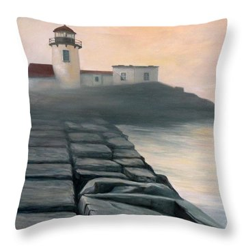 Fog Burning Off Throw Pillow by Eileen Patten Oliver