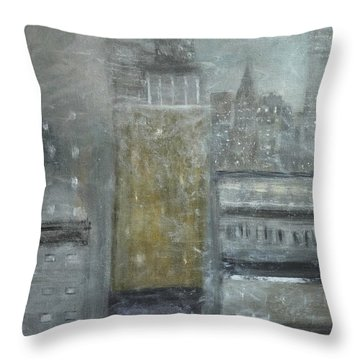 Fog Covered City Throw Pillow