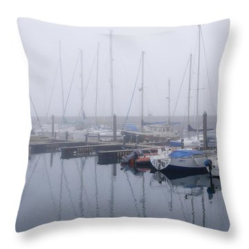 Fog In Marina I Throw Pillow