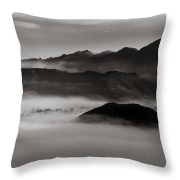 Fog In The Malibu Hills Throw Pillow