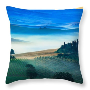 Fog In Tuscan Valley Throw Pillow