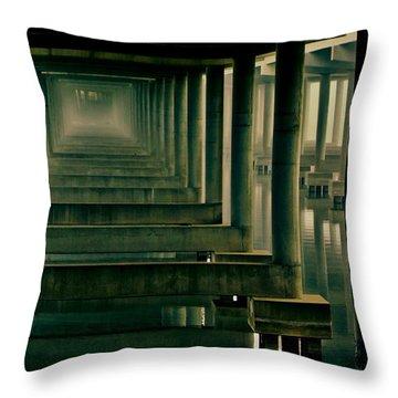 Foggy Morning Under Bridge Throw Pillow