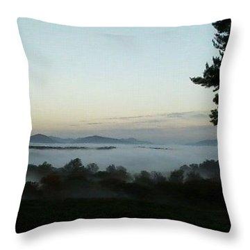 Fog Mountain Lake Throw Pillow