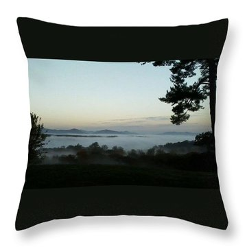 Fog Mountain Lake Throw Pillow