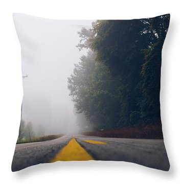 Fog On Highway Throw Pillow