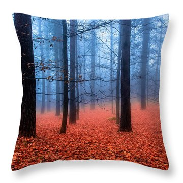 Fog On Leaves Throw Pillow by Edgar Laureano