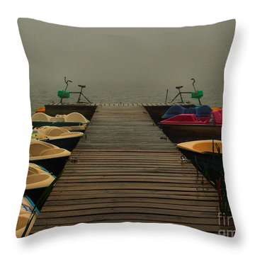 Fog On The  Dock Throw Pillow by Steven Reed