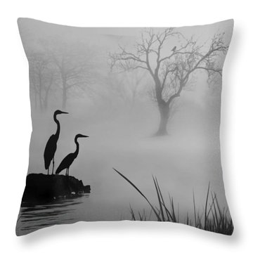 Throw Pillow featuring the digital art Fog On The Lake by Nina Bradica