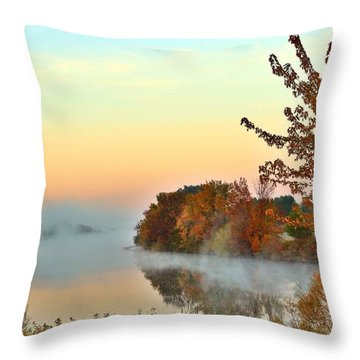 Throw Pillow featuring the photograph Fog On The River by Lynn Hopwood