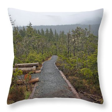 Fog On The Trail Throw Pillow by Cathy Mahnke