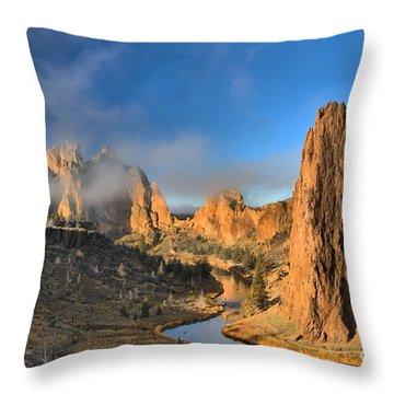 Fog Over Smith Rock Throw Pillow