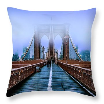 Fog Over The Brooklyn Throw Pillow