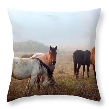 Fog Ponies Throw Pillow