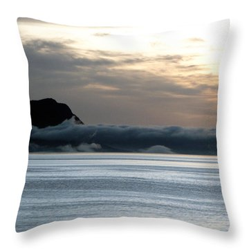 Throw Pillow featuring the photograph Fog Roll Sunset by Jennifer Wheatley Wolf