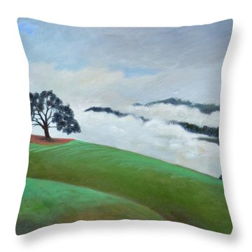 Fog Spilling In Throw Pillow