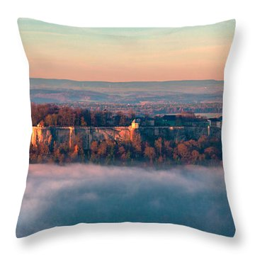Fog Surrounding The Fortress Koenigstein Throw Pillow