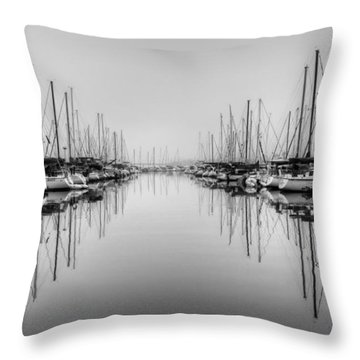 Throw Pillow featuring the photograph Foggy Autumn Morning - Black And White by Heidi Smith