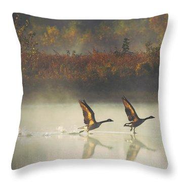 Foggy Autumn Morning Throw Pillow by Elizabeth Winter