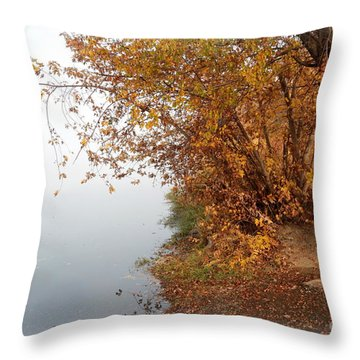 Foggy Autumn Riverbank Throw Pillow by Carol Groenen