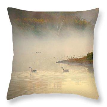 Foggy Autumn Swim Throw Pillow by Elizabeth Winter