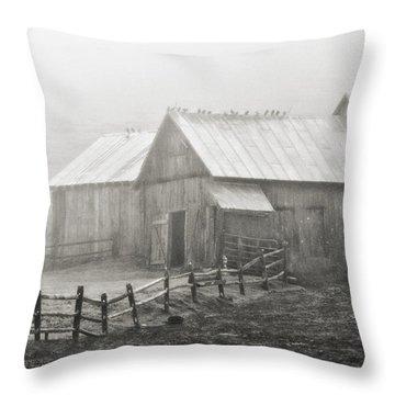 Foggy Barn Throw Pillow by Joan Davis