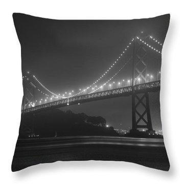Foggy Bay Bridge Throw Pillow