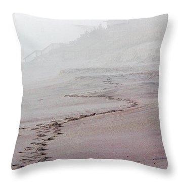 Foggy Beach At Dawn Throw Pillow