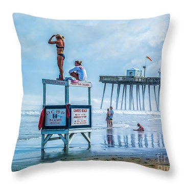 Foggy Beach View Throw Pillow