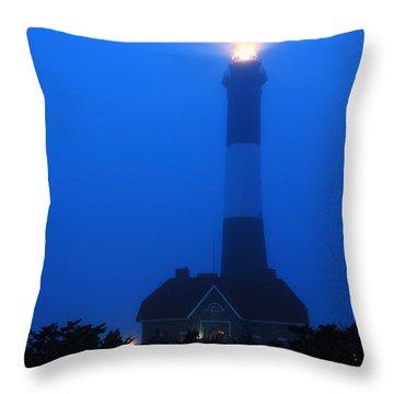 Foggy Beacon Throw Pillow by James Kirkikis